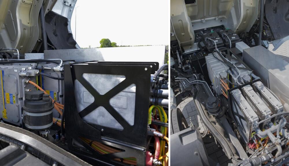 В грузовике DAF CF Electric 6×2 полностью электрическая как трансмиссия так и надстройка для сбора мусора. Электродвигатель E-power VDL мощностью 210 кВт обладает внушительным вращающим моментом — 2000 Батарея емкость 170 кВт*ч заряжается до 80% всего за пол часа, но по информации ROVA пробега хватает на дневной маршрут, поэтому экспресс зарядки используются крайне редко. Электрические грузовики DAF CF Electric 6×2 трехосные, их грузоподъемность составляет 28 тонн. Первые тестирования начались еще в 2018 году.
