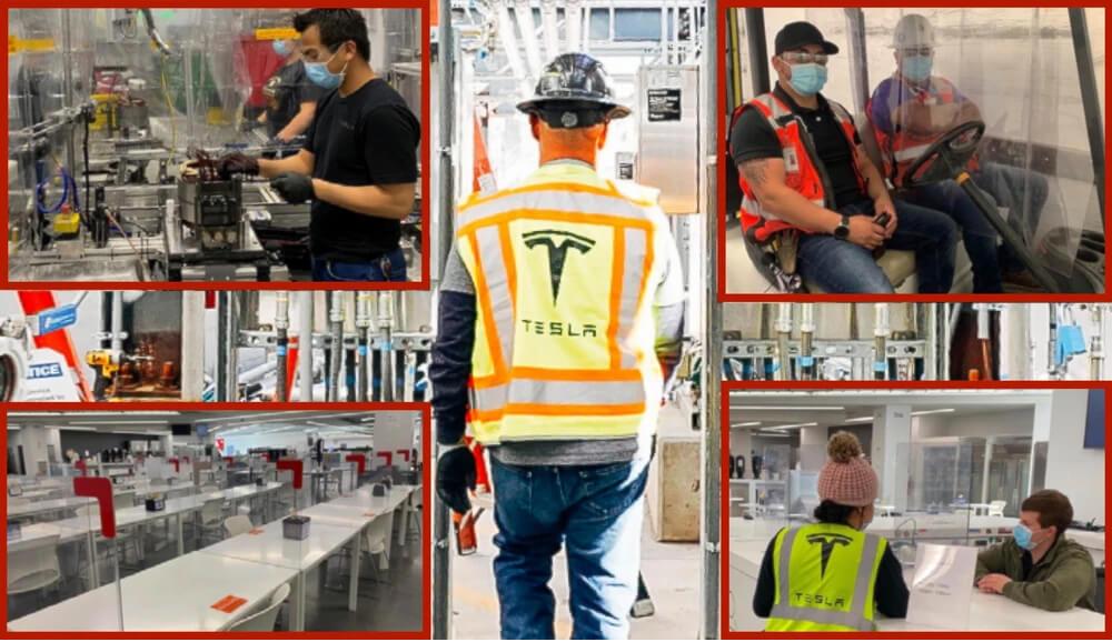 Сотрудники Tesla в массовом порядке вернулись на свои рабочие места, правда с соблюдением правил присущих эпидемии. Маски, перчатки, дистанция - так и останутся обязательным атрибутом спец. одежды рабочих гигафабрики в Калифорнии