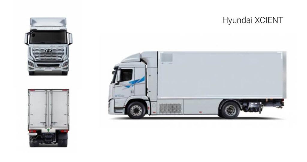В Hyundai XCIENT Fuel Cell установлена система водородных топливных элементов мощность которых составляет 190 кВт. Все семь резервуаров под водород вмещают 32 кг топлива. Давление емкостей — 350 бар. лектрическая трансмиссия Siemens выдает 350 кВт с крутящим моментом 3400 Н*м. Емкость АКБ  — 73,2 кВт*ч.